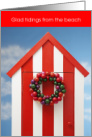 Glad Tidings from the Beach Happy Holiday Striped Cabana card
