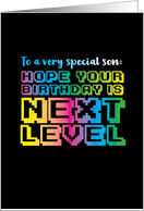 Video Game Arcade Inspired Next Level Birthday for Son card