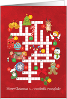 Cute Christmas Picture Crossword Puzzle for Wonderful Young Lady card