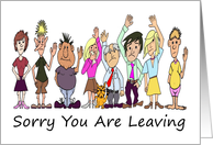 Cartoon Caricatures of Colleagues Waving To Someone Leaving card
