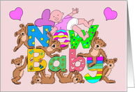 Congratulations Teddy Bears Holding Up New Baby Sign and Baby Girl card
