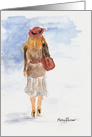 Missing You Girl with a Red Hat Watercolor card