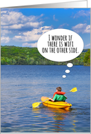 Hope You're Surviving at Summer Camp Boy in Kayak Humor card