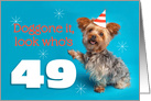 Happy 49th Birthday Yorkie in a Party Hat Humor card