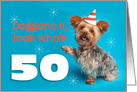 Happy 50th Birthday Yorkie in a Party Hat Humor card