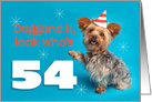 Happy 54th Birthday Yorkie in a Party Hat Humor card