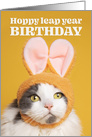 Happy Leap Year Birthday Funny Bunny Cat Humor card