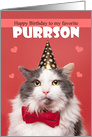 Happy Birthday Favoite PURRson Cat in Party Hat Humor card