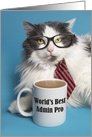 Happy Admin Pro Day Cute Cat in Tie With Coffee Mug Humor card