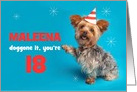 Happy Birthday Custom Name and Age Cute Yorkie in Party Hat card