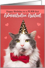 Happy Birthday Administrative Assistant Cute Cat in Party Hat card
