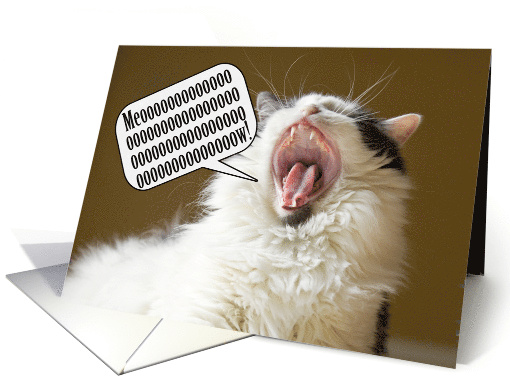 Cat Meowing a Happy Birthday to Anyone card (1522518)