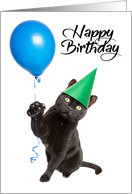 Happy Birthday For Anyone Cat Holding Balloon card