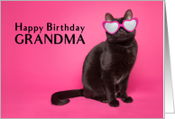 Happy Birthday Grandma Cute Cat in Sunglasses card