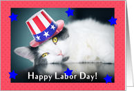 Happy Labor Day Cute Cat in Patriotic Hat card