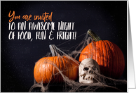 Halloween Party Invitation Creepy Pumpkins and Skull card