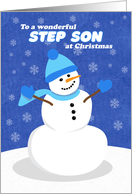 Merry Christmas Step Son Snowman in Blue card