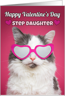 Happy Valentine's Day Step Daughter Cute Cat in Heart Sunglasses card