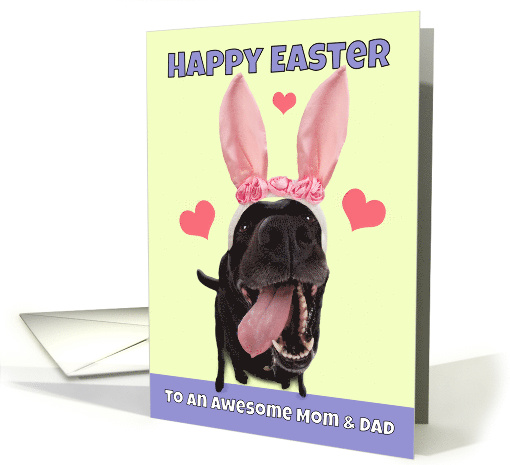 Happy Easter Mom & Dad Dog in Bunny Ears Humor card (1555790)