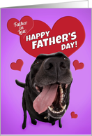 Happy Father's Day Father-in-Law Cute Black Lab with Hearts Humor card