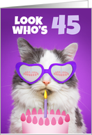 Happy Birthday 45 Year Old Cute Cat WIth Cake Humor card
