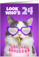 Happy Birthday 24 Year Old Cute Cat WIth Cake Humor card