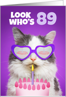 Happy Birthday 89 Year Old Cute Cat WIth Cake Humor card