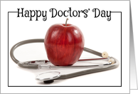 Happy Doctors' Day Apple and Stethoscope card