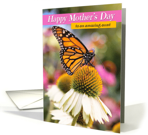 Happy Mother's Day to Aunt Beautiful Monarch Butterfly card (1560786)
