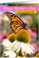 Happy Mother's Day Wife Beautiful Monarch Butterfly card