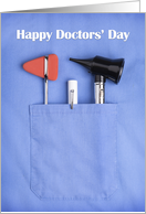 Happy Doctors' Day Doctor's Scrub Pocket card