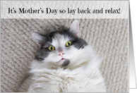 Happy Mother's Day Relaxing Cat Humor card