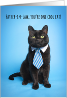 Happy Father's Day Father-In-Law Cute Cat in Blue Tie Humor card