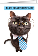 Happy Father's Day Cat in Tie and Glasses Humor card