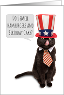 Happy Birthday and Happy Fourth of July Cat in Patriotic Hat Humor card