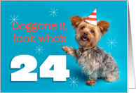 Happy 24th Birthday Yorkie in a Party Hat Humor card