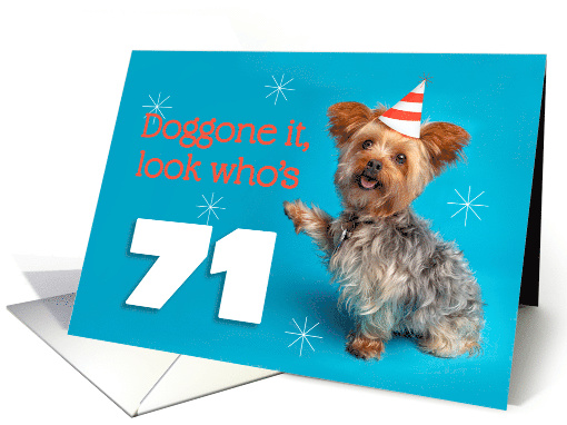 Happy 71st Birthday Yorkie in a Party Hat Humor card (1576146)