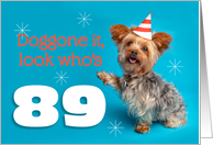 Happy 89th Birthday Yorkie in a Party Hat Humor card