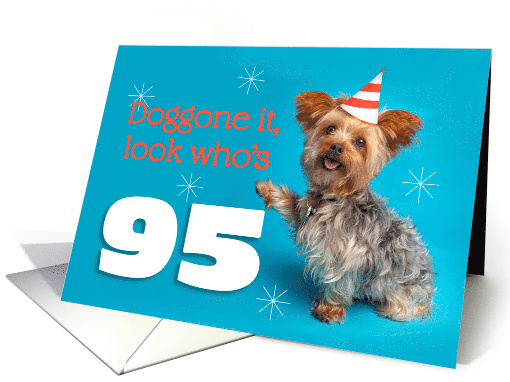 Happy 95th Birthday Yorkie in a Party Hat Humor card (1576216)