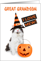 Happy Halloween Great Grandson Cute Kitty Cat in Costume card