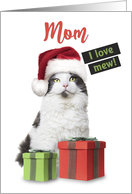 Merry Christmas Mom I Love Mew Cute Cat With Presents card