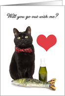 Will You Be My Date Cute Cat Humor card