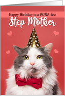 Happy Birthday Step Mother Cute Cat in Party Hat and Bow Tie Humor card