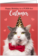 Happy Birthday Customer Cute Cat in Party Hat card