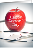 Happy Doctors' Day Apple and Stethoscope Image card