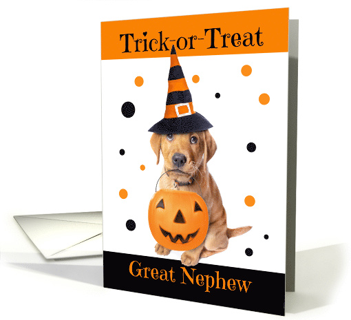 Happy Halloween Great Nephew Cute Puppy in Costume Humor card