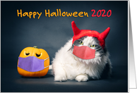 Happy Halloween 2020 Cat and Pumpkin in Pandemic Face Masks Humor card