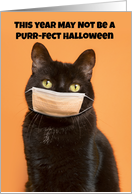 Happy Halloween Black Cat in Face Mask Humor card