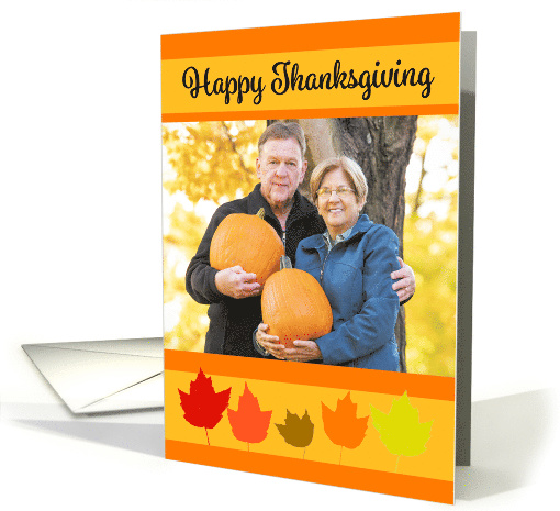 Happy Thanksgiving Fall Leaves Custom Photo Frame card (1652386)