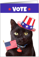 Vote Patriotic Cat With Flag and Hat Humor card